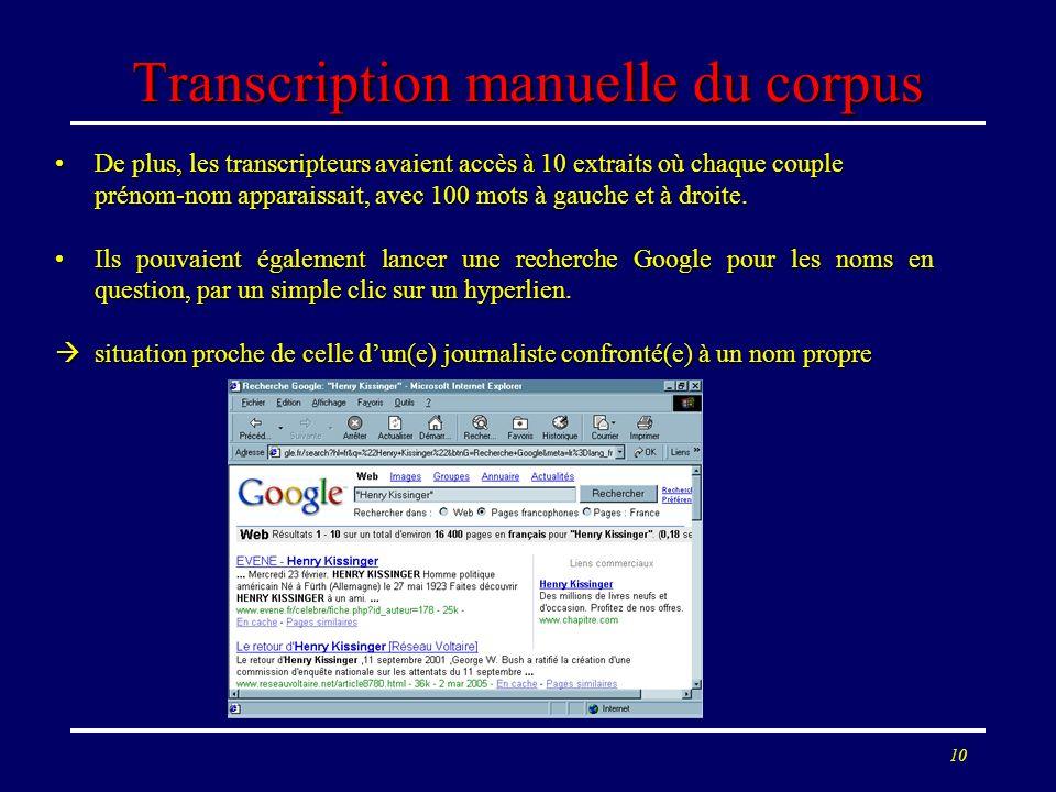 10 Transcription manuelle du corpus De plus, les transcripteurs avaient accès à 10 extraits où chaque couple prénom-nom apparaissait, avec 100 mots à