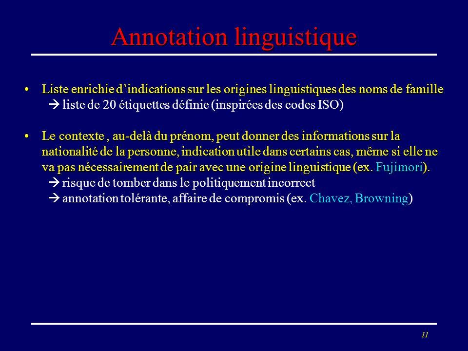 11 Annotation linguistique Liste enrichie dindications sur les origines linguistiques des noms de familleListe enrichie dindications sur les origines