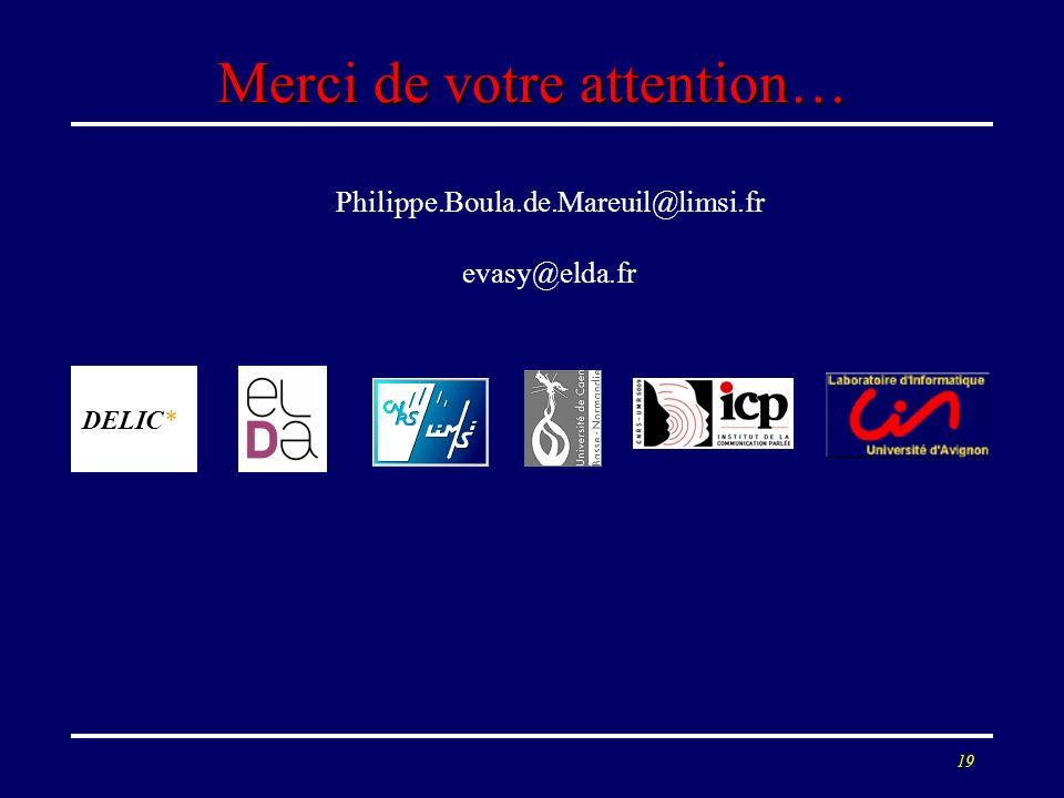 19 Merci de votre attention… Philippe.Boula.de.Mareuil@limsi.fr evasy@elda.fr DELIC*