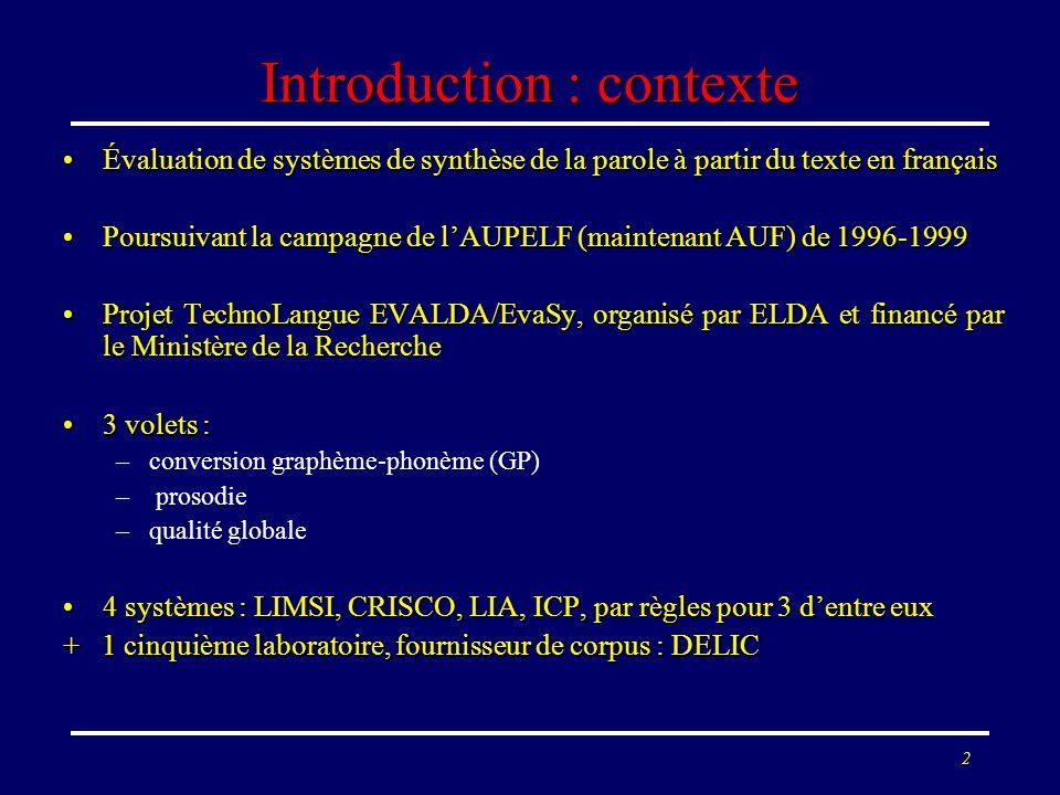 2 Introduction : contexte Évaluation de systèmes de synthèse de la parole à partir du texte en françaisÉvaluation de systèmes de synthèse de la parole