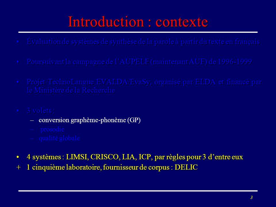 3 Introduction : contexte Évaluation de systèmes de synthèse de la parole à partir du texte en françaisÉvaluation de systèmes de synthèse de la parole