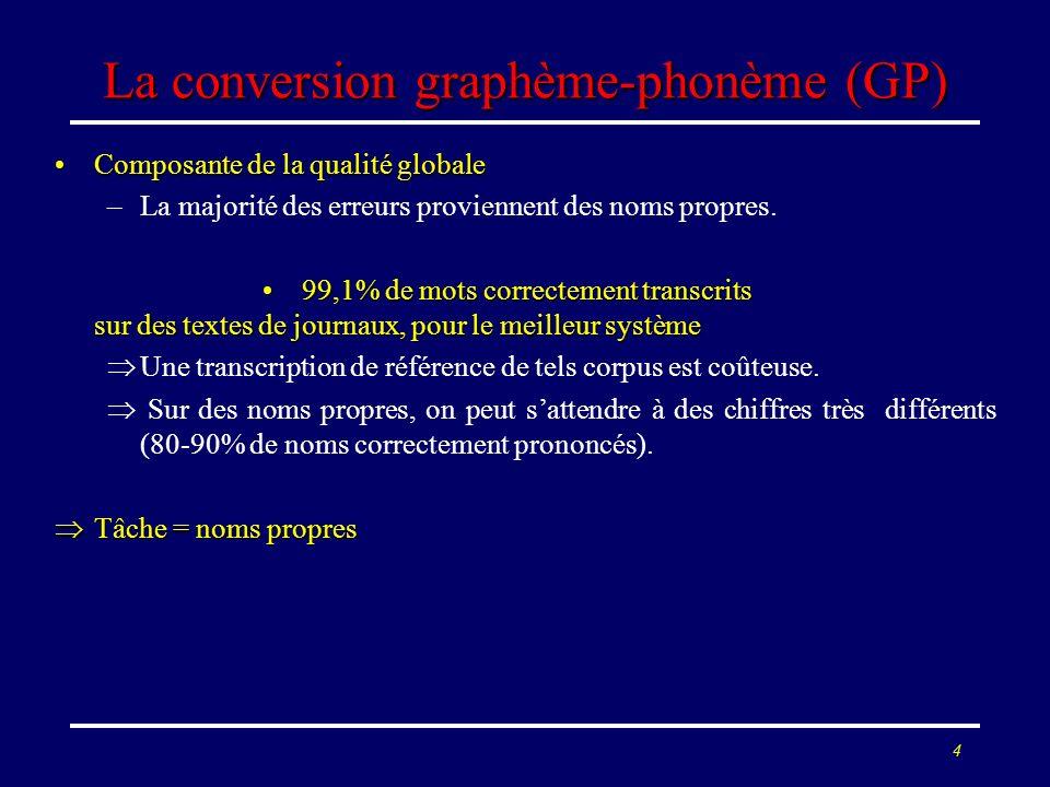 4 La conversion graphème-phonème (GP) Composante de la qualité globaleComposante de la qualité globale –La majorité des erreurs proviennent des noms p