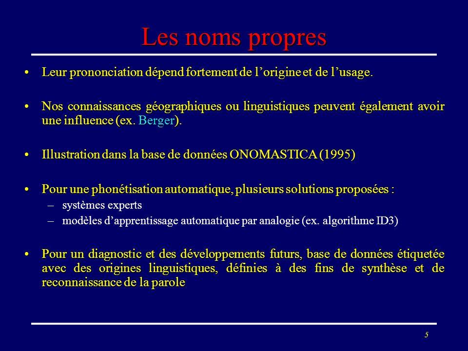 5 Les noms propres Leur prononciation dépend fortement de lorigine et de lusage.Leur prononciation dépend fortement de lorigine et de lusage. Nos conn