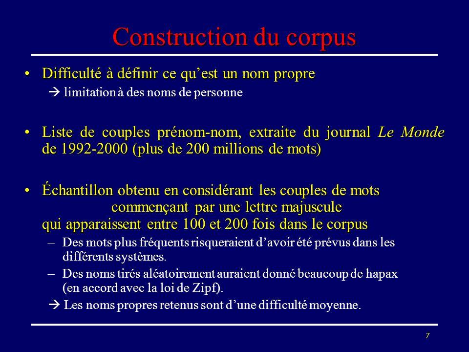 8 Sélection du corpus (DELIC) Mots communs capitalisés, noms de compagnies, abréviations filtrés (ex.