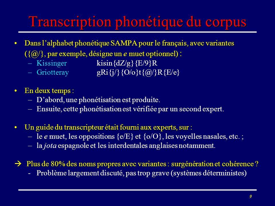 9 Transcription phonétique du corpus Dans lalphabet phonétique SAMPA pour le français, avec variantes ({@/}, par exemple, désigne un e muet optionnel)