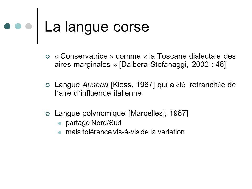 La langue corse « Conservatrice » comme « la Toscane dialectale des aires marginales » [Dalbera-Stefanaggi, 2002 : 46] Langue Ausbau [Kloss, 1967] qui