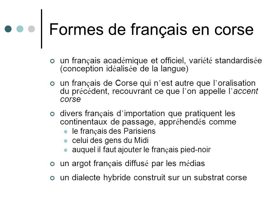 Formes de français en corse un fran ç ais acad é mique et officiel, vari é t é standardis é e (conception id é alis é e de la langue) un fran ç ais de