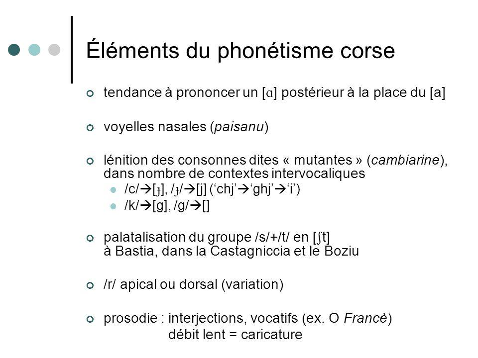 Éléments du phonétisme corse tendance à prononcer un [ ] postérieur à la place du [a] voyelles nasales (paisanu) lénition des consonnes dites « mutant