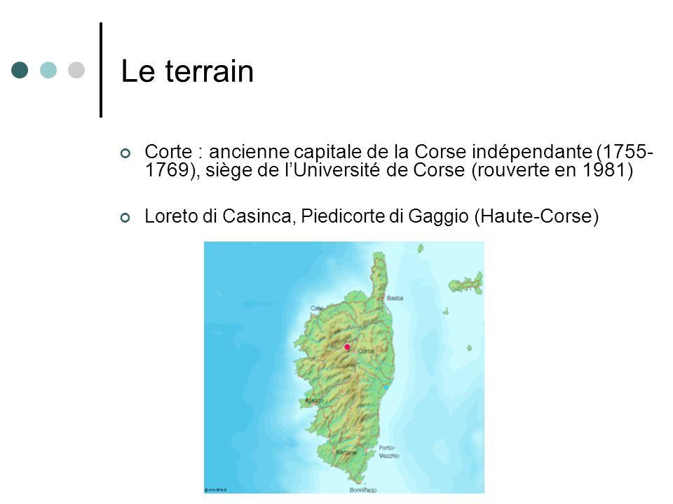 Le terrain Corte : ancienne capitale de la Corse indépendante (1755- 1769), siège de lUniversité de Corse (rouverte en 1981) Loreto di Casinca, Piedic