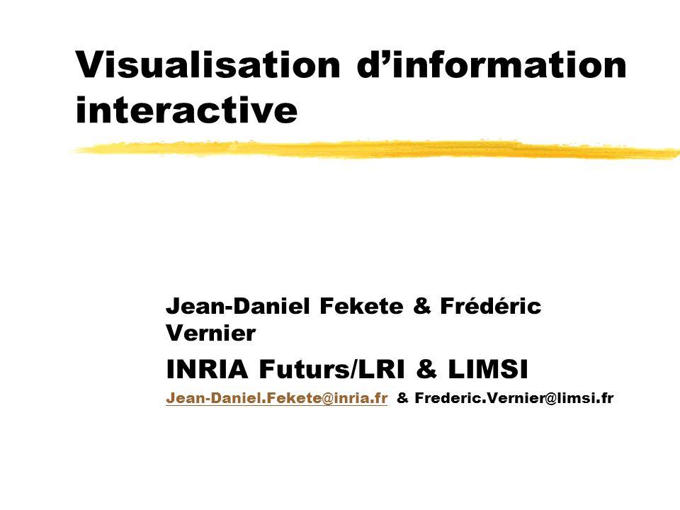 Visualisation dinformation interactive Jean-Daniel Fekete & Frédéric Vernier INRIA Futurs/LRI & LIMSI Jean-Daniel.Fekete@inria.frJean-Daniel.Fekete@in