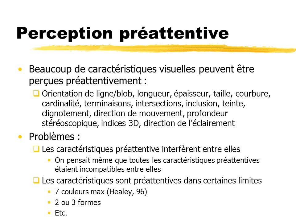 Perception préattentive Beaucoup de caractéristiques visuelles peuvent être perçues préattentivement : Orientation de ligne/blob, longueur, épaisseur,
