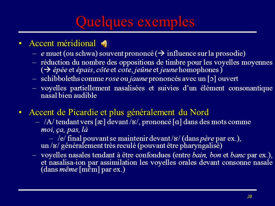 19 Quelques exemples Accent méridionalAccent méridional –e muet (ou schwa) souvent prononcé ( influence sur la prosodie) –réduction du nombre des oppo