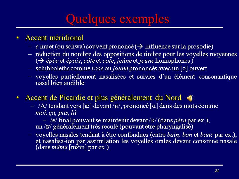 20 Quelques exemples Accent méridionalAccent méridional –e muet (ou schwa) souvent prononcé ( influence sur la prosodie) –réduction du nombre des oppo