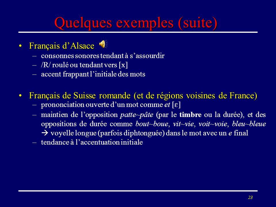 22 Quelques exemples (suite) Français dAlsaceFrançais dAlsace –consonnes sonores tendant à sassourdir –/R/ roulé ou tendant vers [x] –accent frappant