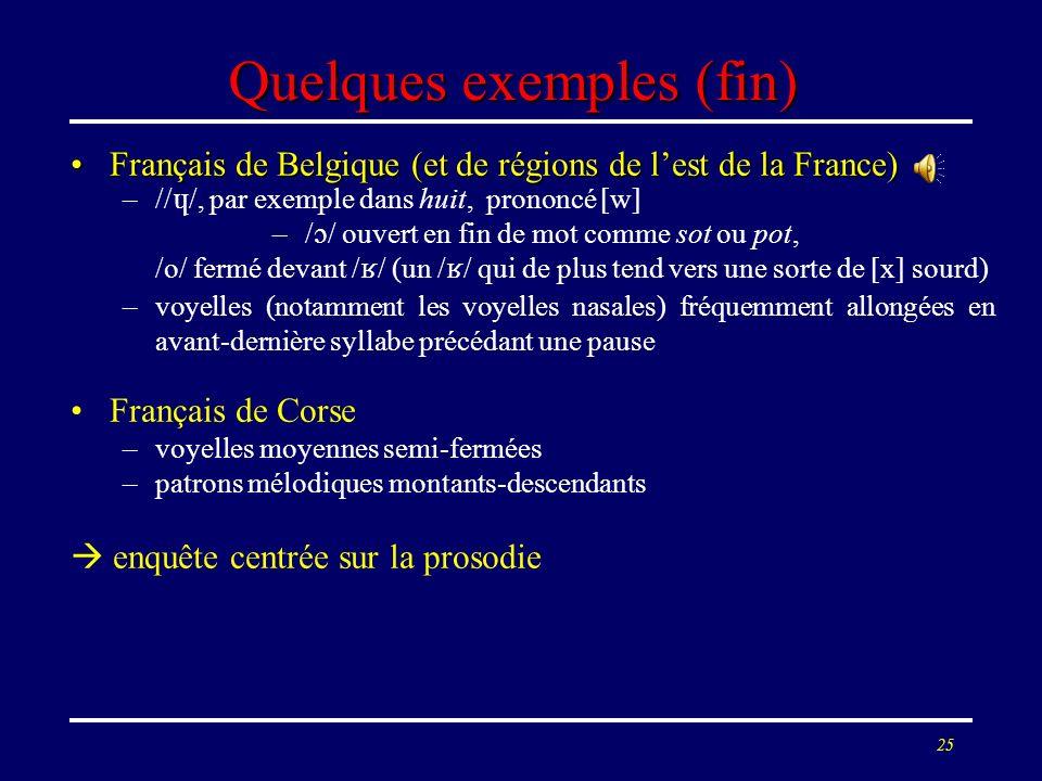24 Quelques exemples (suite) Français dAlsaceFrançais dAlsace –consonnes sonores tendant à sassourdir –/R/ roulé ou tendant vers [x] –accent frappant