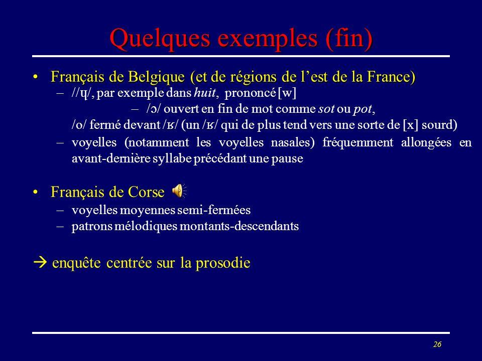 25 Quelques exemples (fin) Français de Belgique (et de régions de lest de la France)Français de Belgique (et de régions de lest de la France) –// /, p