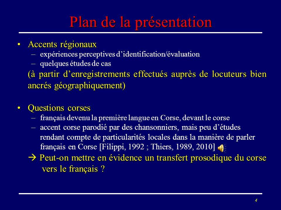 3 Plan de la présentation Accents régionauxAccents régionaux –expériences perceptives didentification/évaluation –quelques études de cas (à partir den