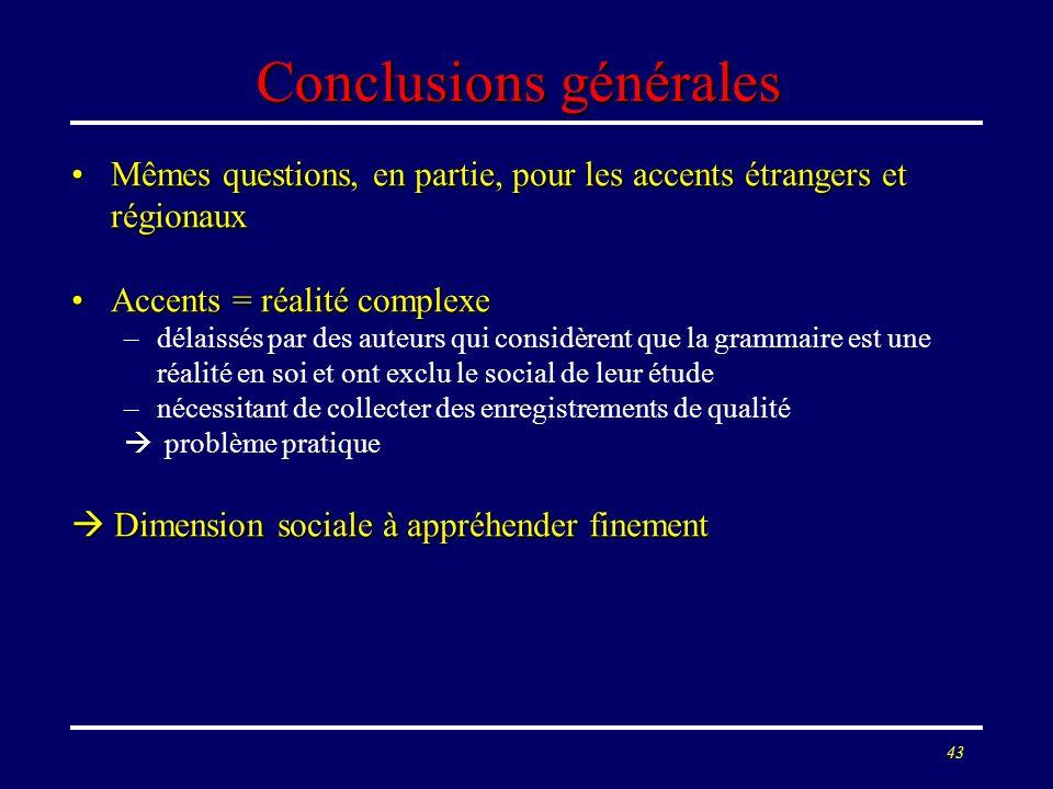 42 Test de discrimination Q/A : résultats En français de Corse, en particulier, les questions sont correctement identifiées comme tellesEn français de