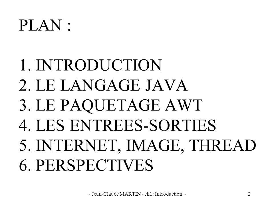 - Jean-Claude MARTIN - ch1: Introduction -43 // Lecture des paramètres de lapplet dans le programme Java import java.awt.* ; import java.applet.* ; public class Par extends Applet { String sNomLivre, sNbPage; public void init () { sNomLivre = getParameter ( Nom ); sNbPage = getParameter ( Nb ); } public void paint (Graphics g) { g.drawString ( Nom du livre : +sNomLivre, 50, 50); g.drawString ( Nombre de pages : + sNbPage, 50, 70); }