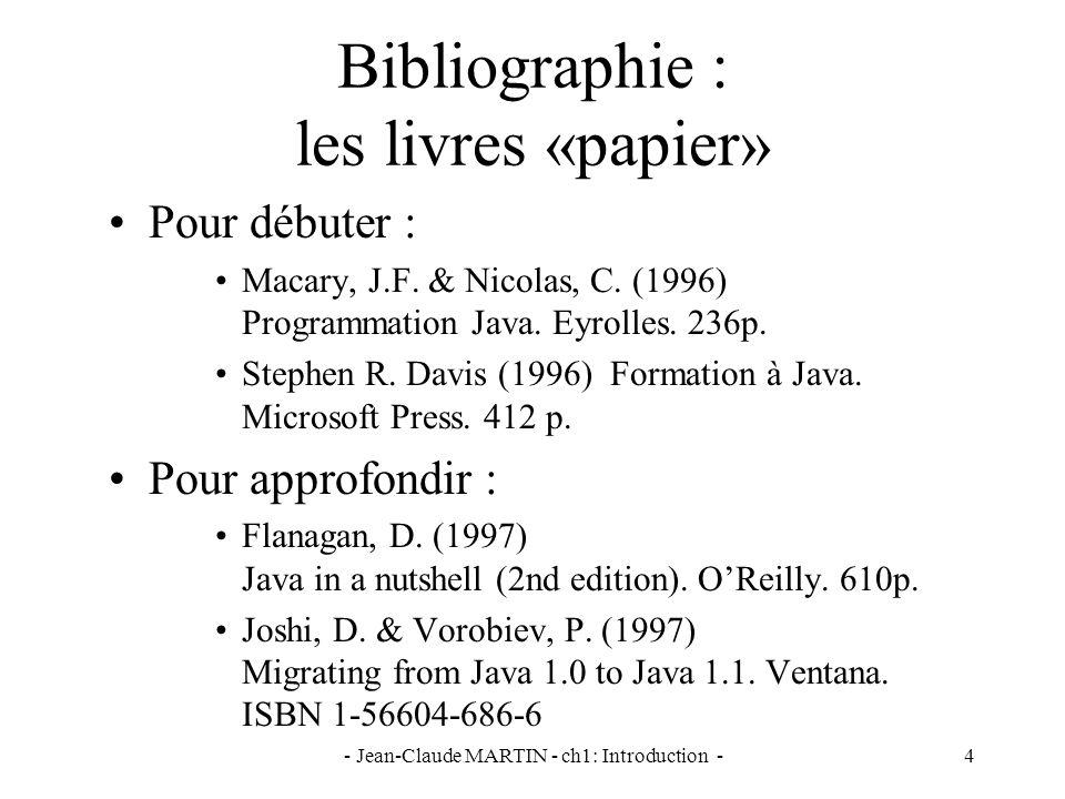 - Jean-Claude MARTIN - ch1: Introduction -45 Applet et Tags HTML < APPLET [CODEBASE = codebaseURL] CODE = appletFile [ALT = alternateText] [NAME = appletInstanceName] WIDTH = pixels HEIGHT = pixels [ALIGN = alignment] [VSPACE = pixels] [HSPACE = pixels] [ARCHIVE = «fichier1, fichier2»] > [ ] [alternateHTML] absolu ou relatif à la page HTML si absent, celle de la page HTML affiché par les navigateurs comprenant mais nayant pas pu exécuter lapplet Java plusieurs applets dans une page affiché par les navigateurs ne comprenant pas