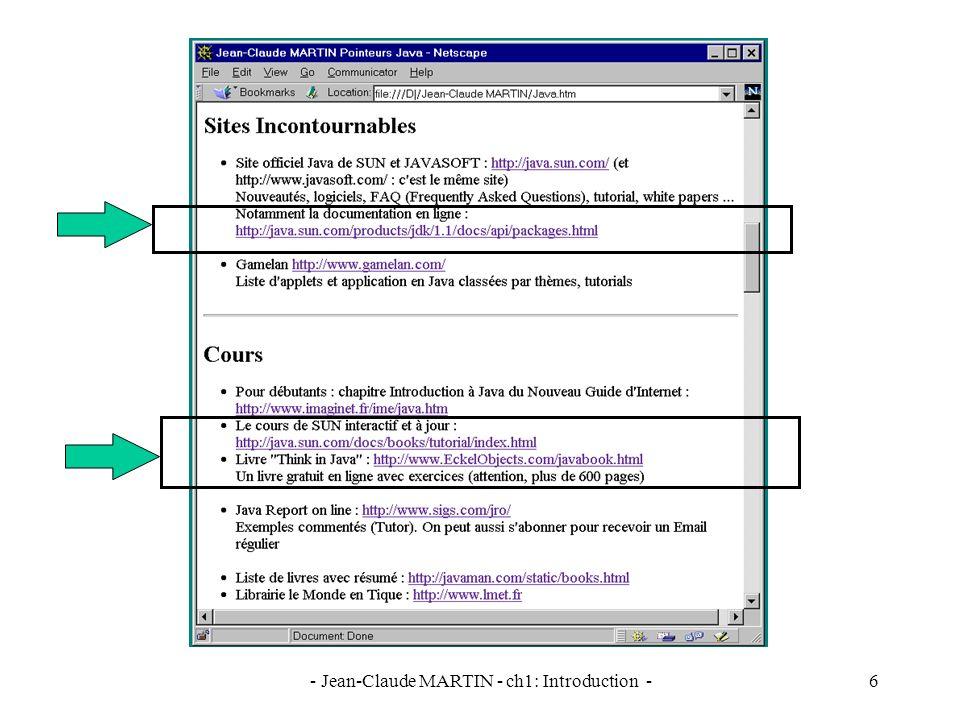 - Jean-Claude MARTIN - ch1: Introduction -17 Compilation de HelloAppli.java HelloAppli.java public class HelloAppli { public static void main (String args[]) { System.out.println ( Hello World ! ); } Compilateur JAVAC HelloAppli.class 0 getstatic #7 3 ldc #1 5 invokevirtual #8 8 return...