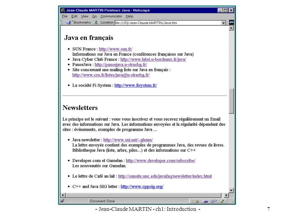 - Jean-Claude MARTIN - ch1: Introduction -28 Premier exemple d applet : HelloApplet.java Créer un fichier HelloApplet.java import java.awt.Graphics ; import java.applet.Applet ; public class HelloApplet extends Applet { public void paint (Graphics g) { g.drawString ( Hello World.