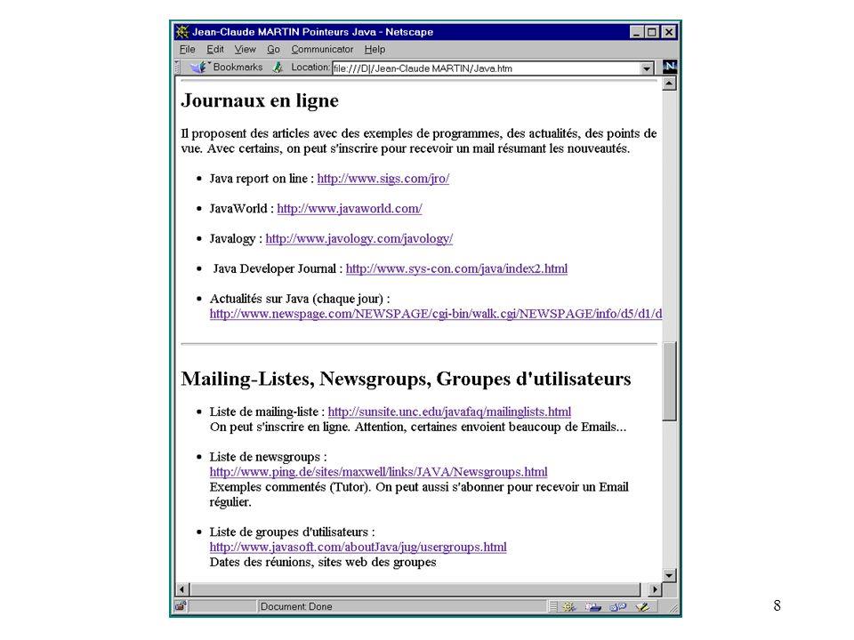 - Jean-Claude MARTIN - ch1: Introduction -39 Le navigateur exécute une applet les étapes le navigateur réserve de lespace dans sa fenêtre pour lexécution de lapplet le navigateur charge le bytecode (.class ou.jar) le navigateur crée une instance de lapplet la machine virtuelle appelle init() puis start()