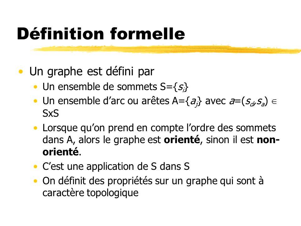 Propriétés des graphes A partir dun graphe, on peut calculer des propriétés: Degré (entrant/sortant) dun sommet Distance entre des sommets (nombre de liens min qui les sépare) Composantes (fortement/faiblement) connexes Diamètre du graphe Centralité dun nœud Densité du graphe