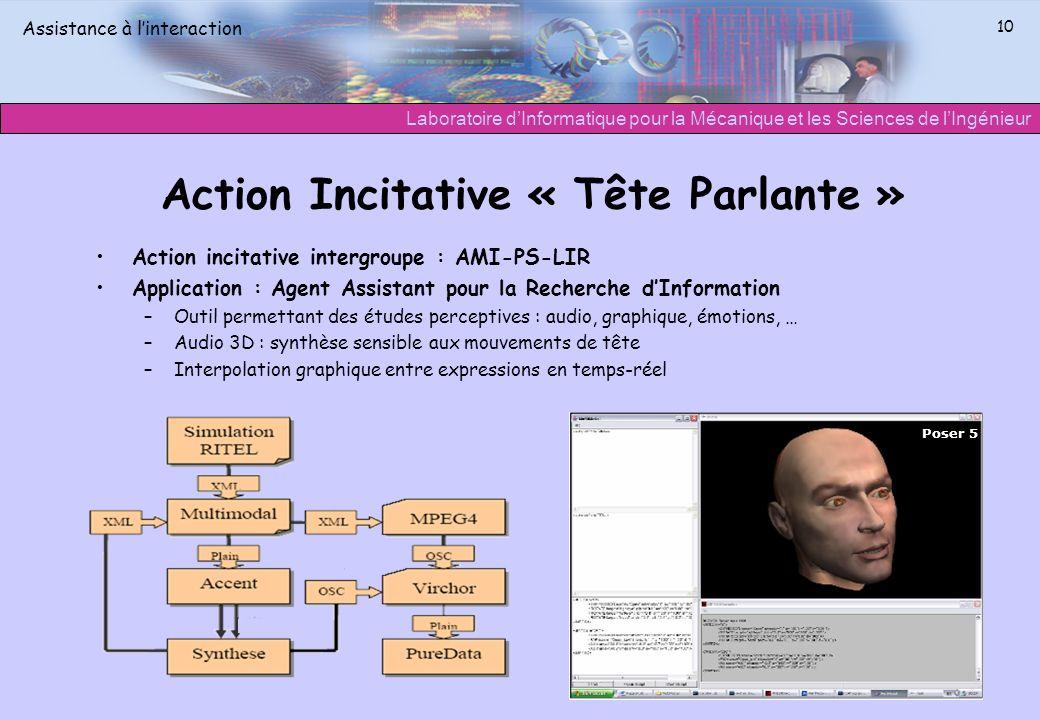 Laboratoire dInformatique pour la Mécanique et les Sciences de lIngénieur Assistance à linteraction 10 Action Incitative « Tête Parlante » Action inci