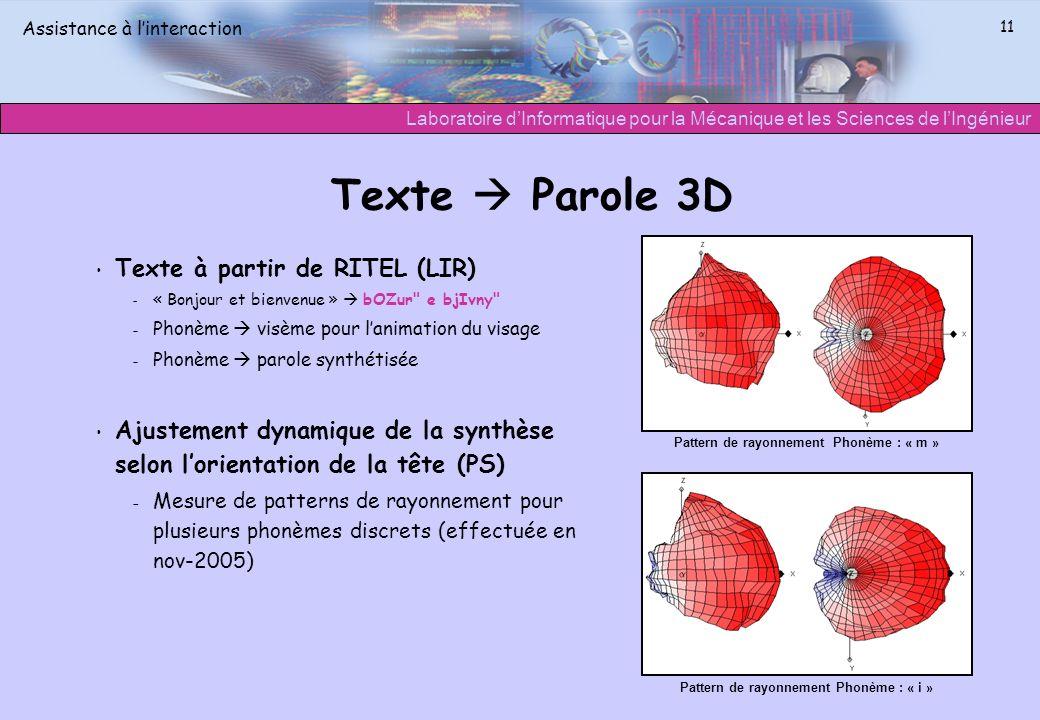 Laboratoire dInformatique pour la Mécanique et les Sciences de lIngénieur Assistance à linteraction 11 Texte Parole 3D Texte à partir de RITEL (LIR) –