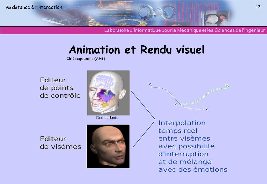 Laboratoire dInformatique pour la Mécanique et les Sciences de lIngénieur Assistance à linteraction 12 Animation et Rendu visuel Tête parlante Ch Jacq