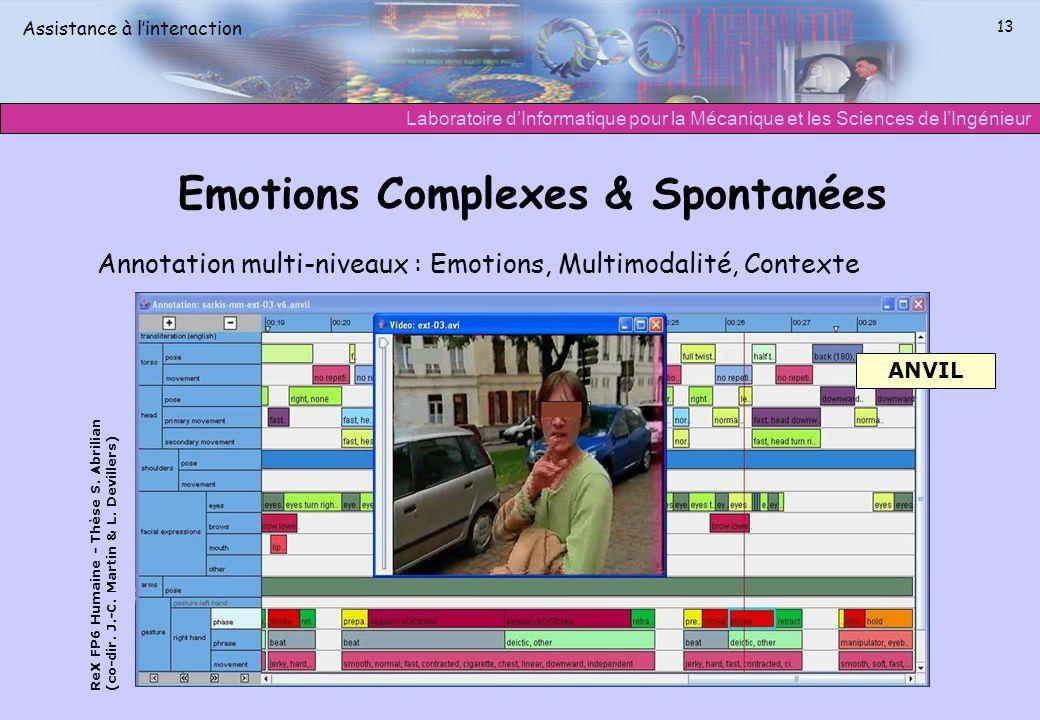 Laboratoire dInformatique pour la Mécanique et les Sciences de lIngénieur Assistance à linteraction 13 Emotions Complexes & Spontanées Annotation mult
