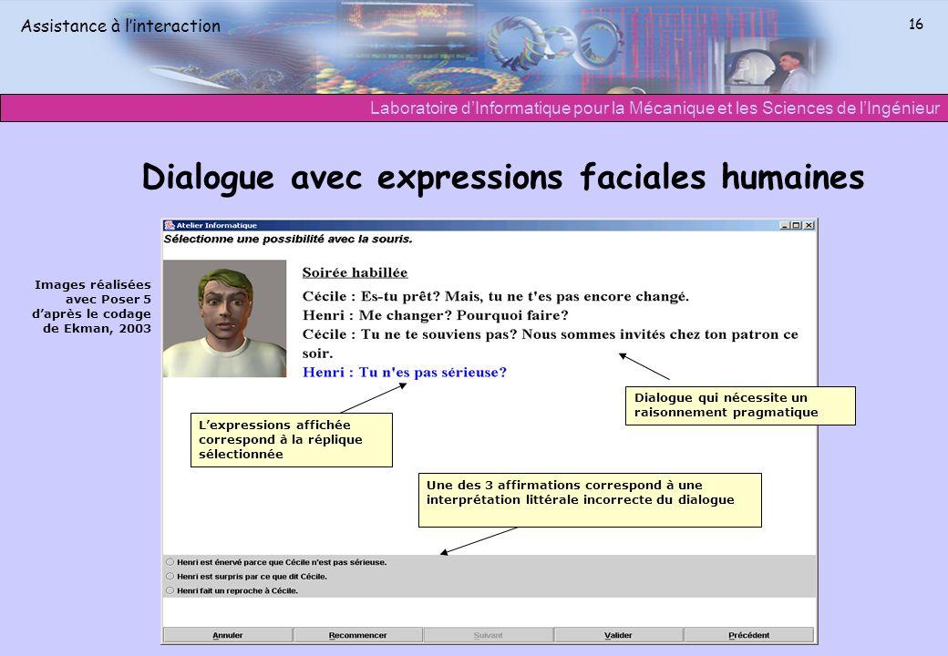 Laboratoire dInformatique pour la Mécanique et les Sciences de lIngénieur Assistance à linteraction 16 Dialogue avec expressions faciales humaines Ima