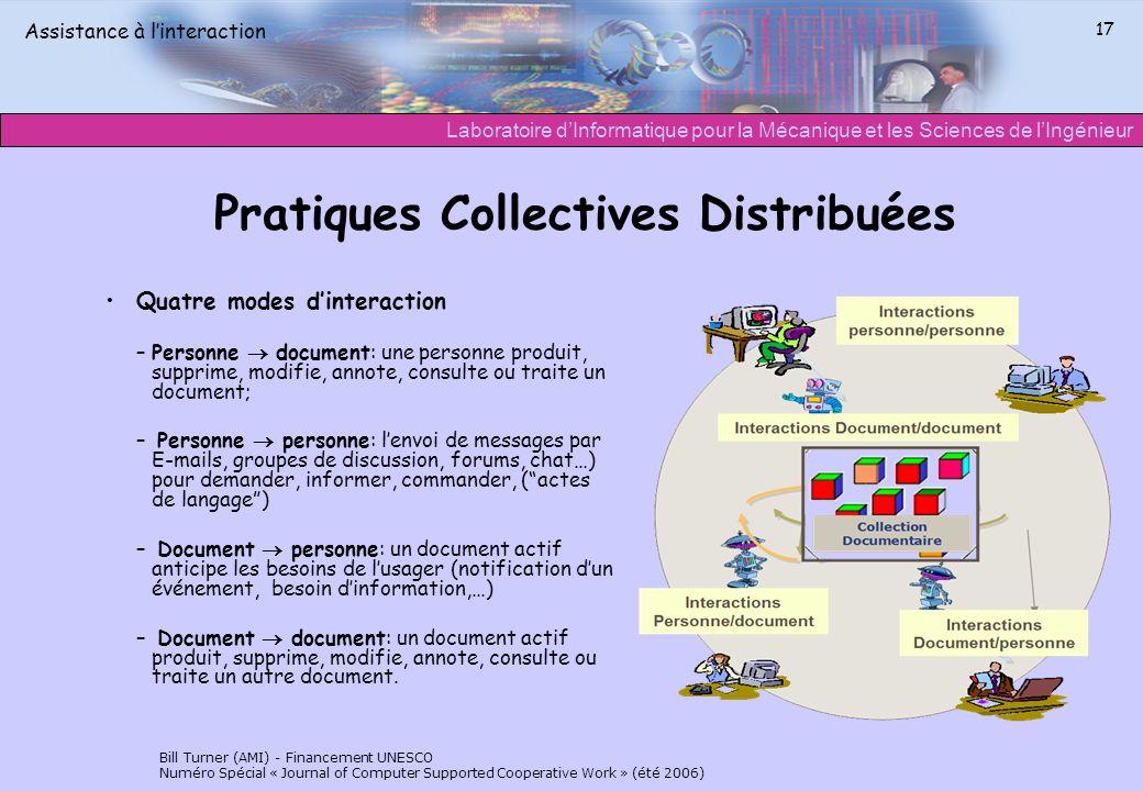 Laboratoire dInformatique pour la Mécanique et les Sciences de lIngénieur Assistance à linteraction 17 Pratiques Collectives Distribuées Quatre modes