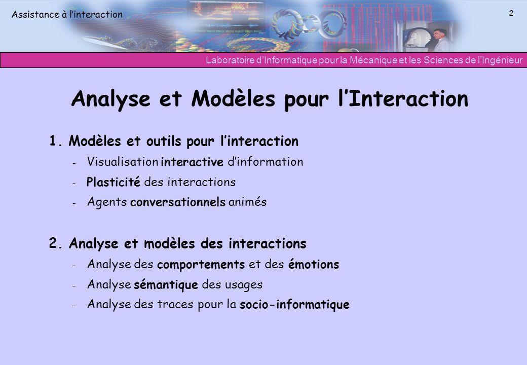 Laboratoire dInformatique pour la Mécanique et les Sciences de lIngénieur Assistance à linteraction 2 Analyse et Modèles pour lInteraction 1. Modèles