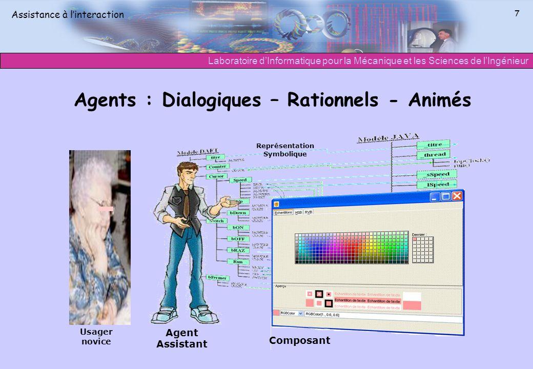 Laboratoire dInformatique pour la Mécanique et les Sciences de lIngénieur Assistance à linteraction 7 Agents : Dialogiques – Rationnels - Animés Agent