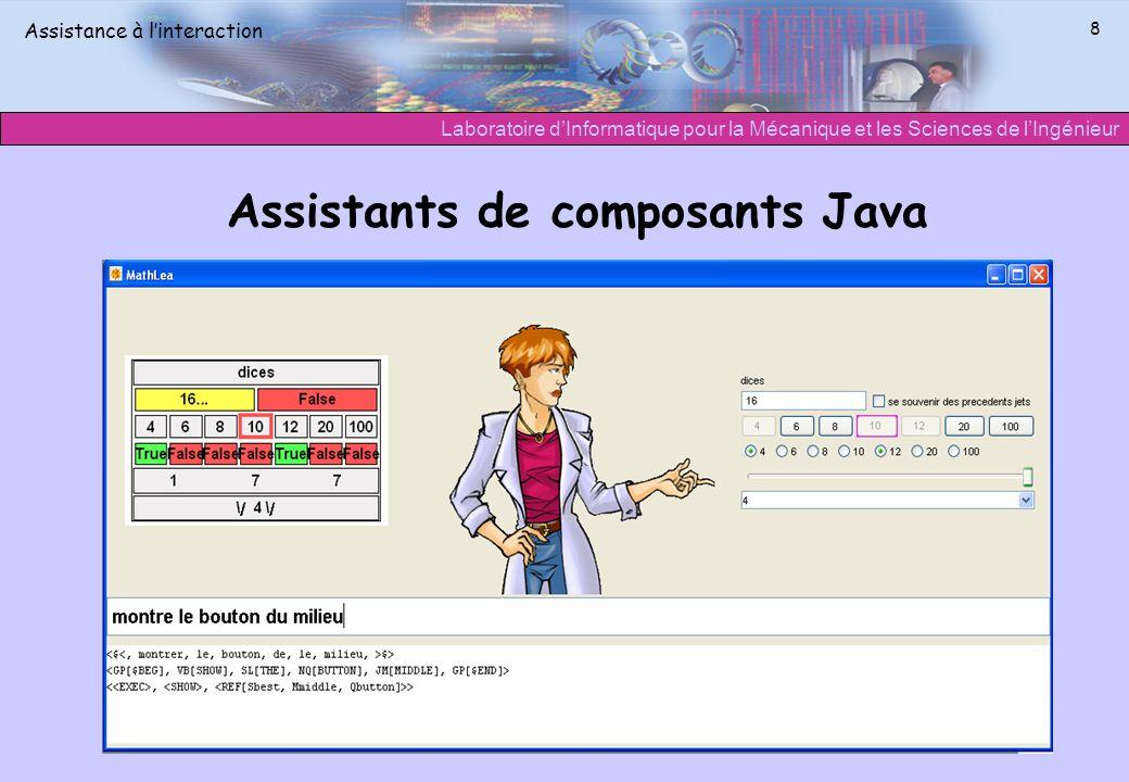 Laboratoire dInformatique pour la Mécanique et les Sciences de lIngénieur Assistance à linteraction 8 Assistants de composants Java