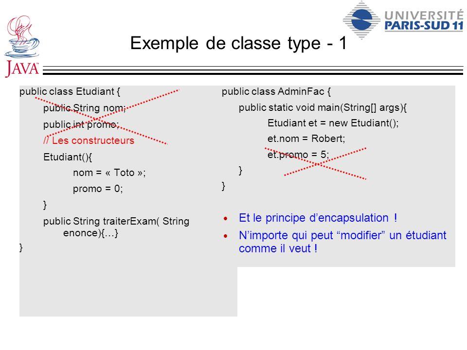Exemple de classe type - 1 public class Etudiant { public String nom; public int promo; // Les constructeurs Etudiant(){ nom = « Toto »; promo = 0; }