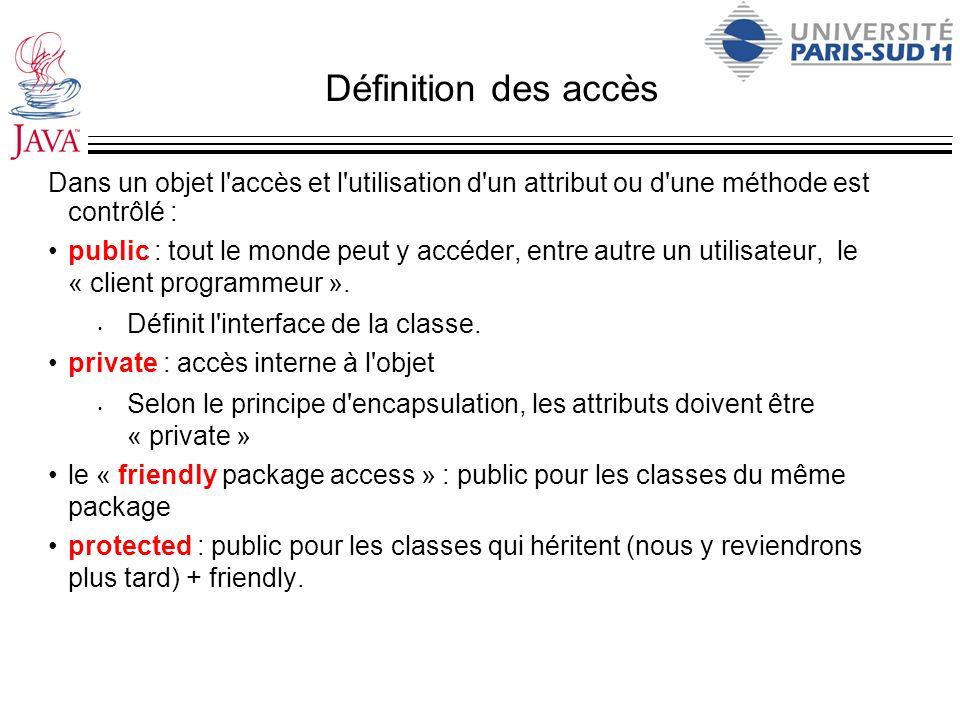 Définition des accès Dans un objet l'accès et l'utilisation d'un attribut ou d'une méthode est contrôlé : public : tout le monde peut y accéder, entre