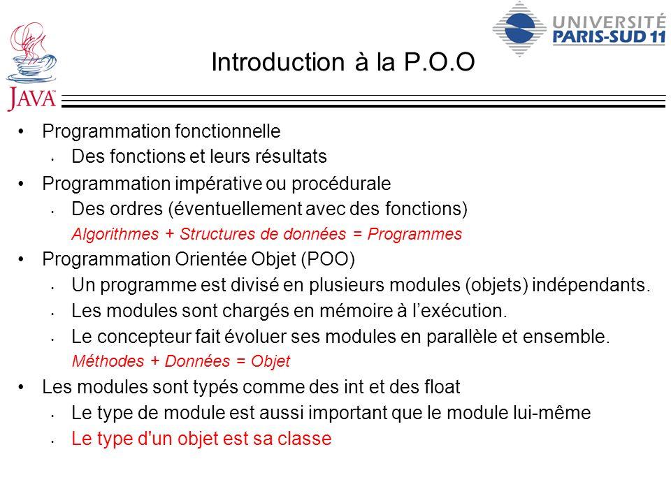 Introduction à la P.O.O Programmation fonctionnelle Des fonctions et leurs résultats Programmation impérative ou procédurale Des ordres (éventuellemen