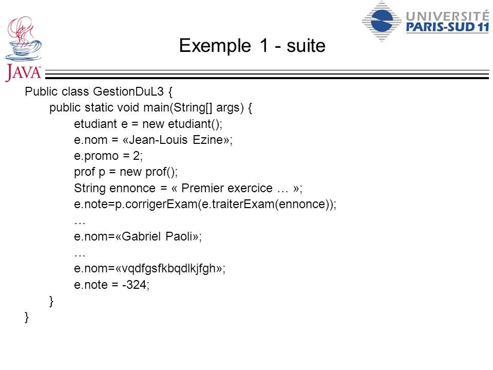 Exemple 1 - suite Public class GestionDuL3 { public static void main(String[] args) { etudiant e = new etudiant(); e.nom = «Jean-Louis Ezine»; e.promo