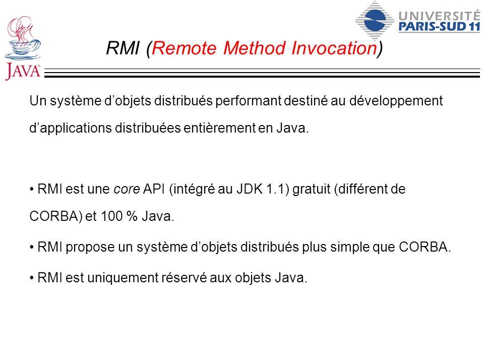 RMI (Remote Method Invocation) Un système dobjets distribués performant destiné au développement dapplications distribuées entièrement en Java. RMI es