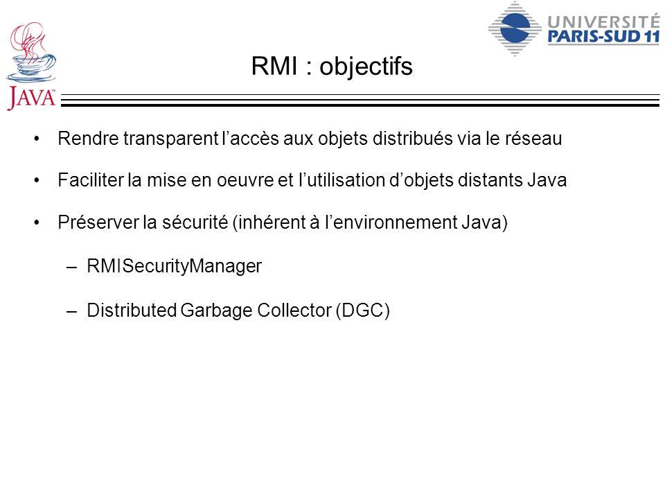 RMI : objectifs Rendre transparent laccès aux objets distribués via le réseau Faciliter la mise en oeuvre et lutilisation dobjets distants Java Préser