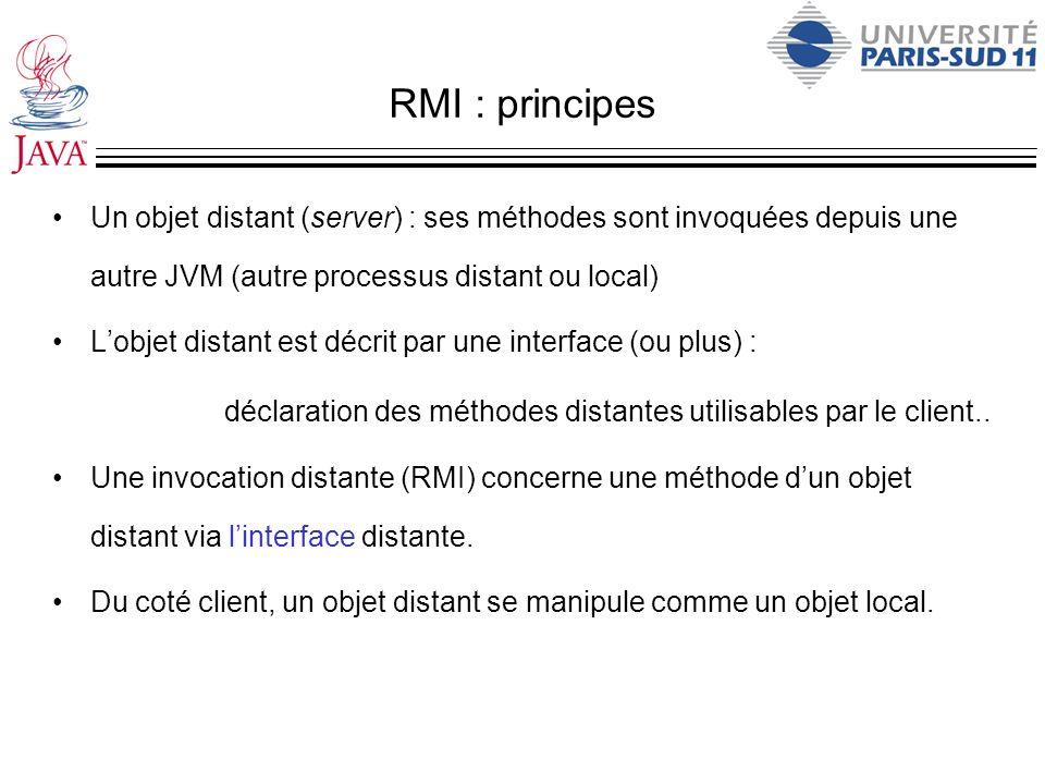 RMI : principes Un objet distant (server) : ses méthodes sont invoquées depuis une autre JVM (autre processus distant ou local) Lobjet distant est déc