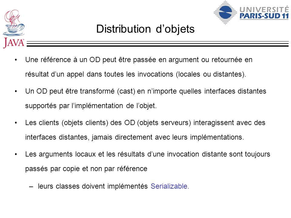 Distribution dobjets Une référence à un OD peut être passée en argument ou retournée en résultat dun appel dans toutes les invocations (locales ou dis