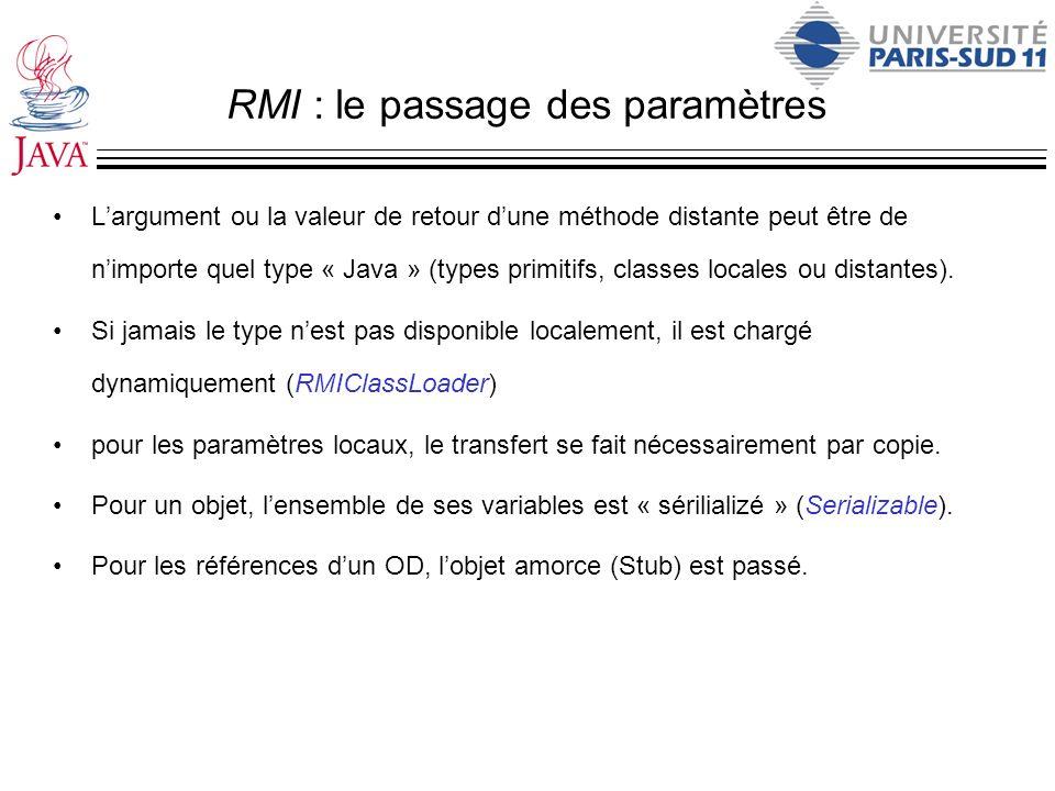 RMI : le passage des paramètres Largument ou la valeur de retour dune méthode distante peut être de nimporte quel type « Java » (types primitifs, clas