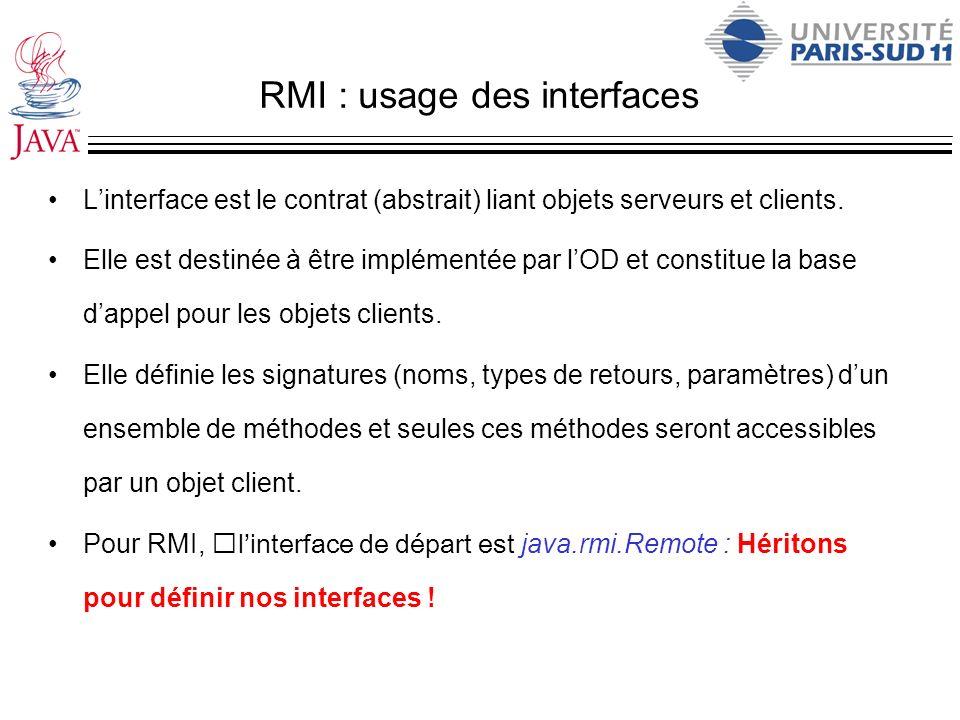 RMI : usage des interfaces Linterface est le contrat (abstrait) liant objets serveurs et clients. Elle est destinée à être implémentée par lOD et cons