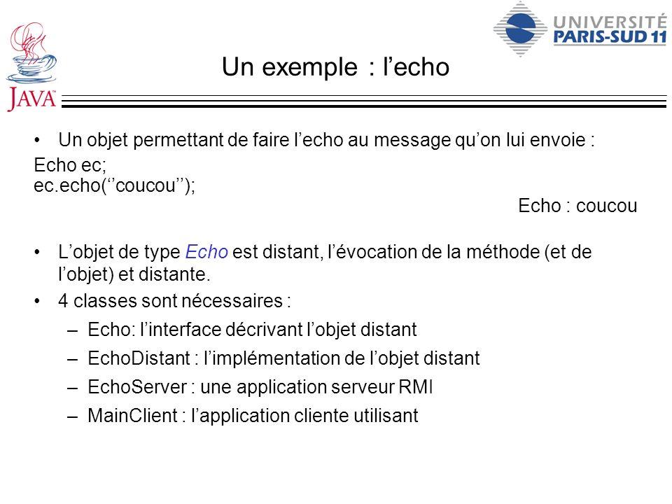 Un exemple : lecho Un objet permettant de faire lecho au message quon lui envoie : Echo ec; ec.echo(coucou); Echo : coucou Lobjet de type Echo est dis