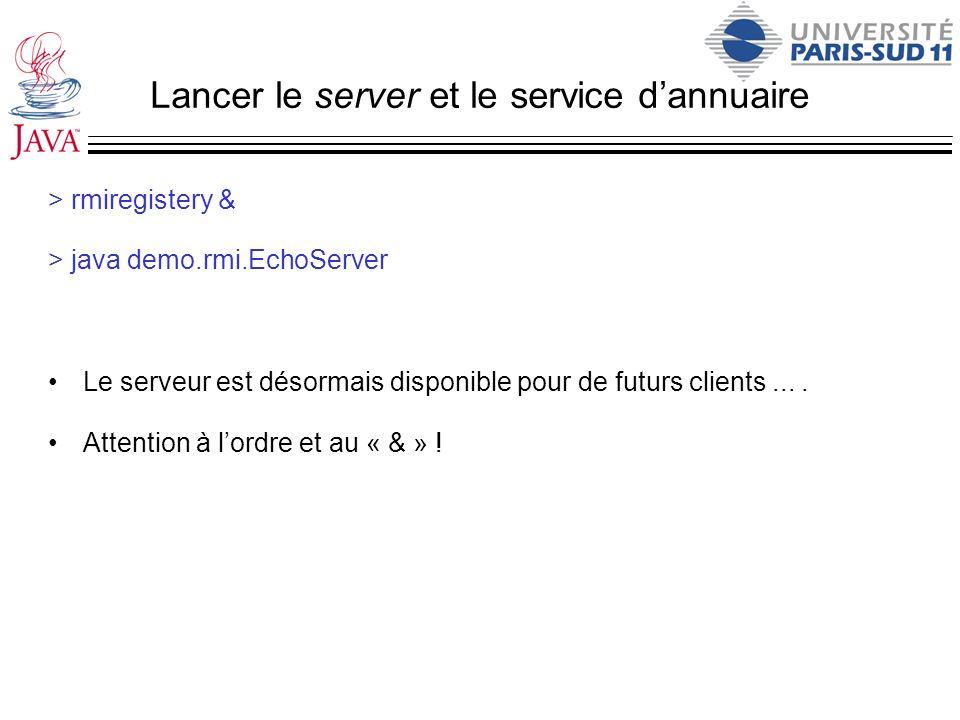 Lancer le server et le service dannuaire > rmiregistery & > java demo.rmi.EchoServer Le serveur est désormais disponible pour de futurs clients.... At