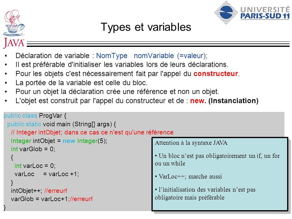 Types et variables Déclaration de variable : NomType nomVariable (=valeur); Il est préférable d'initialiser les variables lors de leurs déclarations.